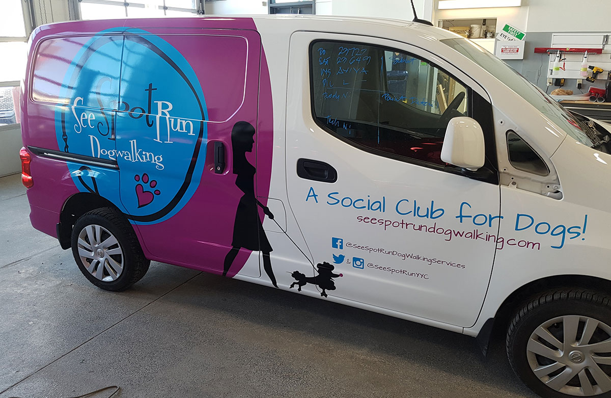 Full color digital printed partial wrap for See Spot Run dog walking (repair)