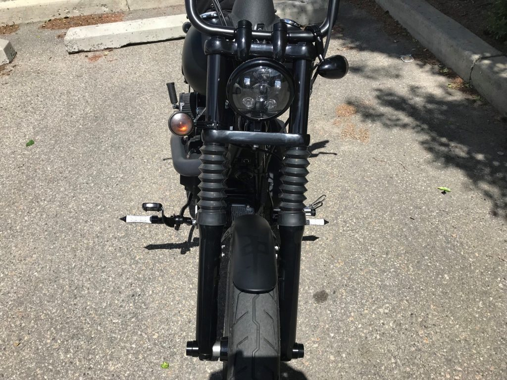 Motorcycle fork black-out wrap
